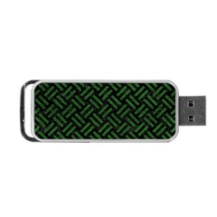 Woven2 Black Marble & Green Leather Portable Usb Flash (two Sides) by trendistuff