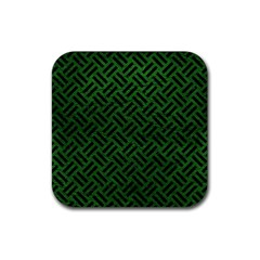 Woven2 Black Marble & Green Leather (r) Rubber Coaster (square)  by trendistuff