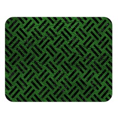 Woven2 Black Marble & Green Leather (r) Double Sided Flano Blanket (large)  by trendistuff