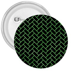 Brick2 Black Marble & Green Watercolor 3  Buttons by trendistuff