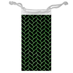 Brick2 Black Marble & Green Watercolor Jewelry Bag by trendistuff