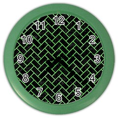Brick2 Black Marble & Green Watercolor Color Wall Clocks by trendistuff