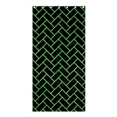 Brick2 Black Marble & Green Watercolor Shower Curtain 36  X 72  (stall)  by trendistuff