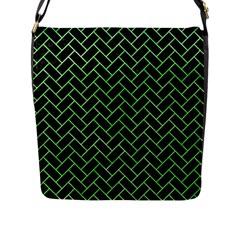 Brick2 Black Marble & Green Watercolor Flap Messenger Bag (l)  by trendistuff