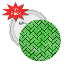Brick2 Black Marble & Green Watercolor (r) 2 25  Buttons (10 Pack)  by trendistuff