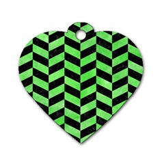 Chevron1 Black Marble & Green Watercolor Dog Tag Heart (one Side)