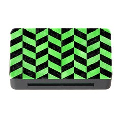 Chevron1 Black Marble & Green Watercolor Memory Card Reader With Cf by trendistuff