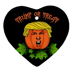 Trump Or Treat  Heart Ornament (two Sides) by Valentinaart
