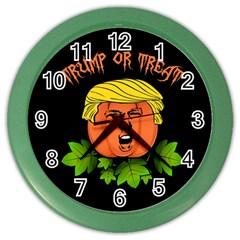 Trump Or Treat  Color Wall Clocks by Valentinaart