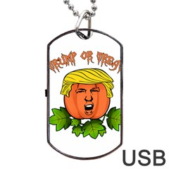 Trump Or Treat  Dog Tag Usb Flash (two Sides) by Valentinaart