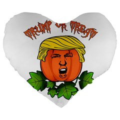 Trump Or Treat  Large 19  Premium Heart Shape Cushions by Valentinaart