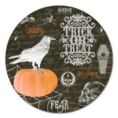Vintage Halloween Magnet 5  (round) by Valentinaart