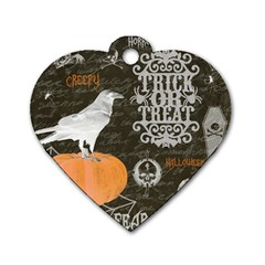 Vintage Halloween Dog Tag Heart (one Side) by Valentinaart