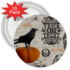 Vintage Halloween 3  Buttons (10 Pack)  by Valentinaart