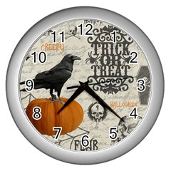 Vintage Halloween Wall Clocks (silver)  by Valentinaart