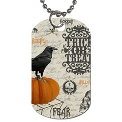 Vintage Halloween Dog Tag (one Side) by Valentinaart