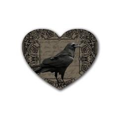 Vintage Halloween Raven Rubber Coaster (heart)  by Valentinaart
