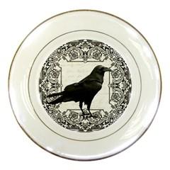 Vintage Halloween Raven Porcelain Plates by Valentinaart