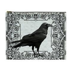 Vintage Halloween Raven Cosmetic Bag (xl) by Valentinaart