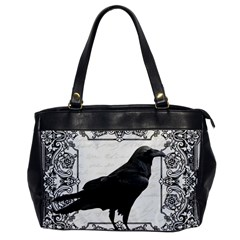 Vintage Halloween Raven Office Handbags by Valentinaart