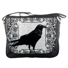 Vintage Halloween Raven Messenger Bags by Valentinaart
