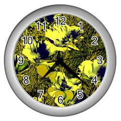 Amazing Glowing Flowers 2c Wall Clocks (silver)  by MoreColorsinLife