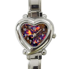 Amazing Glowing Flowers 2a Heart Italian Charm Watch by MoreColorsinLife