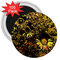 Amazing Neon Flowers B 3  Magnets (100 Pack) by MoreColorsinLife