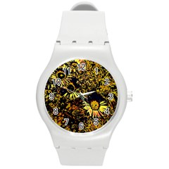 Amazing Neon Flowers B Round Plastic Sport Watch (m) by MoreColorsinLife
