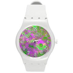 Amazing Neon Flowers A Round Plastic Sport Watch (m) by MoreColorsinLife
