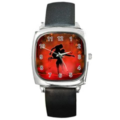 Dancing Couple On Red Background With Flowers And Hearts Square Metal Watch by FantasyWorld7