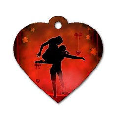 Dancing Couple On Red Background With Flowers And Hearts Dog Tag Heart (two Sides) by FantasyWorld7