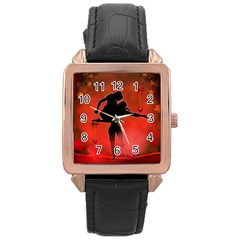Dancing Couple On Red Background With Flowers And Hearts Rose Gold Leather Watch  by FantasyWorld7