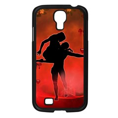 Dancing Couple On Red Background With Flowers And Hearts Samsung Galaxy S4 I9500/ I9505 Case (black) by FantasyWorld7