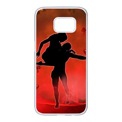 Dancing Couple On Red Background With Flowers And Hearts Samsung Galaxy S7 Edge White Seamless Case by FantasyWorld7
