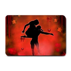 Dancing Couple On Red Background With Flowers And Hearts Small Doormat  by FantasyWorld7