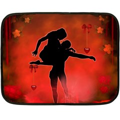 Dancing Couple On Red Background With Flowers And Hearts Fleece Blanket (mini) by FantasyWorld7