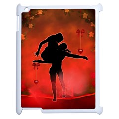 Dancing Couple On Red Background With Flowers And Hearts Apple Ipad 2 Case (white) by FantasyWorld7