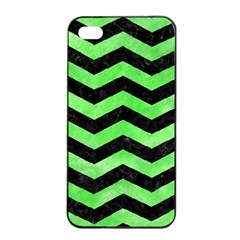 Chevron3 Black Marble & Green Watercolor Apple Iphone 4/4s Seamless Case (black) by trendistuff