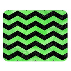 Chevron3 Black Marble & Green Watercolor Double Sided Flano Blanket (large)  by trendistuff