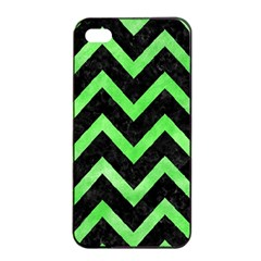Chevron9 Black Marble & Green Watercolor Apple Iphone 4/4s Seamless Case (black) by trendistuff