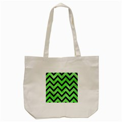 Chevron9 Black Marble & Green Watercolor (r) Tote Bag (cream) by trendistuff