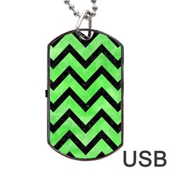 Chevron9 Black Marble & Green Watercolor (r) Dog Tag Usb Flash (two Sides) by trendistuff