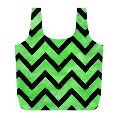 Chevron9 Black Marble & Green Watercolor (r) Full Print Recycle Bags (l)  by trendistuff