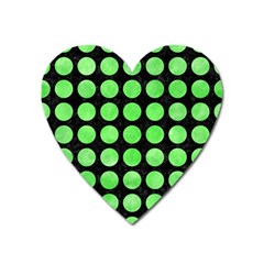 Circles1 Black Marble & Green Watercolor Heart Magnet by trendistuff