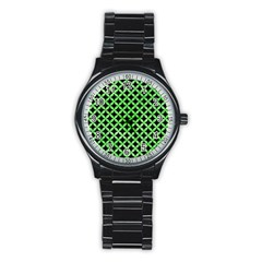 Circles3 Black Marble & Green Watercolor Stainless Steel Round Watch by trendistuff