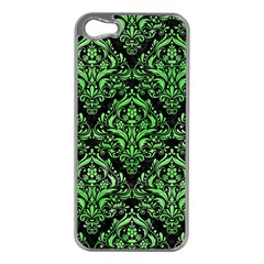 Damask1 Black Marble & Green Watercolor Apple Iphone 5 Case (silver) by trendistuff