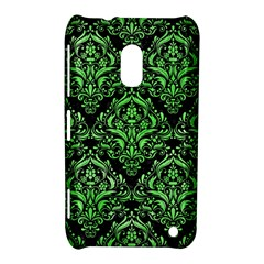 Damask1 Black Marble & Green Watercolor Nokia Lumia 620 by trendistuff
