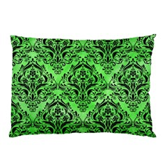 Damask1 Black Marble & Green Watercolor (r) Pillow Case by trendistuff