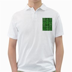 Damask2 Black Marble & Green Watercolor Golf Shirts by trendistuff